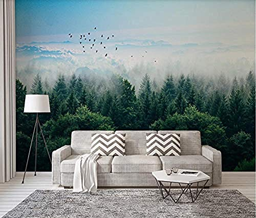 ZJfong muur muurschildering 3D effect behang berg vogels afstandsbediening van de wolk bos ontwerp muurschilderingen behang decoratie 70 cm.