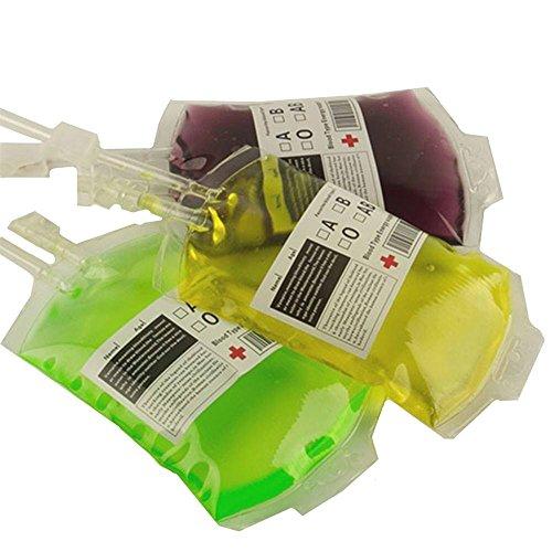 MAXGOODS 3 Stk Festliche PVC Requisiten Party Halloween Lebensmittel Blut Beutel Tasche Flasche (Ohne Spritze Ohne Getränke)
