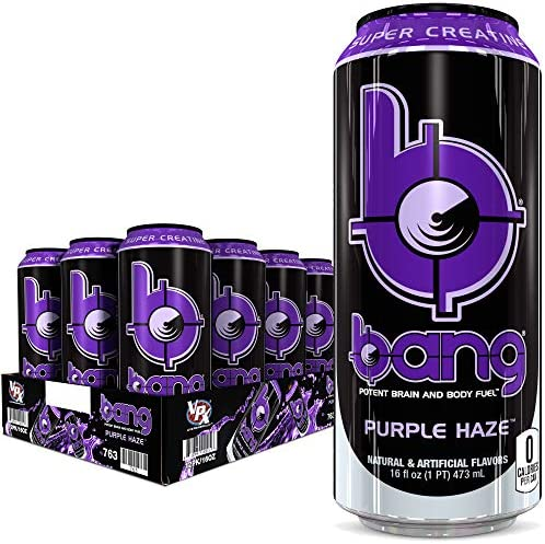Bang Purple Haze Energy Drink 0 Calories Sugar Free with Super Creatine 16 Fl Oz Pack of 12 product image
