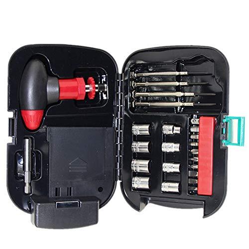 Juego de destornilladores de linterna, kit de herramientas, caja de puntas en T, mango de carraca, manga, linterna, kit de reparación de hardware, 24