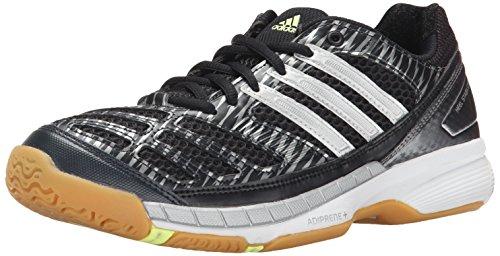 adidas Performance Women's Volley Assault Shoe,Black/Silver/Frozen Yellow,10 M US