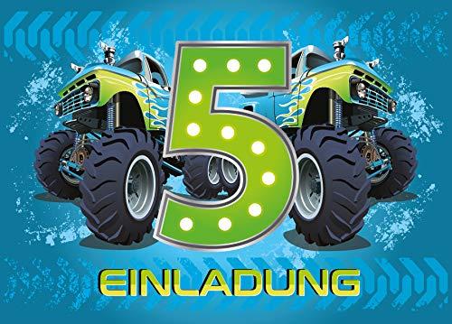 12 Einladungskarten 5. Geburtstag Kinder Junge Monstertruck blau / Monster-Truck / Auto / Einladungen fünfte Kindergeburtstag für Jungen