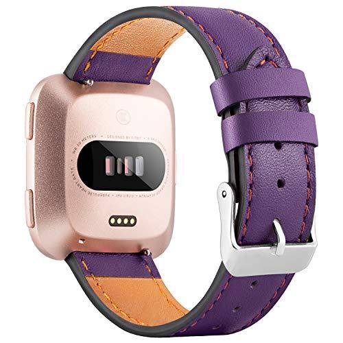 WASPO für Fitbit Versa Armband, Elegantes Echtes Lederarmband mit Schnellverschluss Pin Kompatibel mit Fitbit Versa 2/ Fitbit Versa/Fitbit Versa Lite Edition, Klein Groß Damen Herren (Lila, S)
