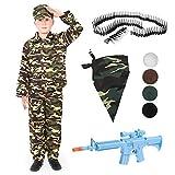 Disfraz de ejército para niños con pintura facial + cinturón de bala + BANDANA + pistola de juguete y balas. Disfraz infantil de soldado de combate, uniforme militar para niños
