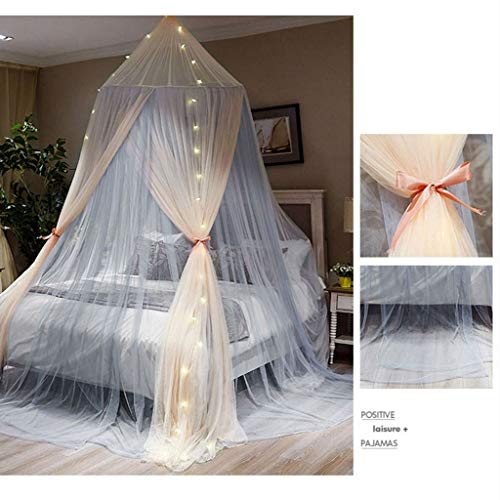 MUQING Muqingmosquito Net Nordic Children's Room Decoration Princess Wind Gauze Girl Girl Heart Bedroom Bedside Ceiling Tent to Send Star Lights (Style Selection),Jade,1.8m