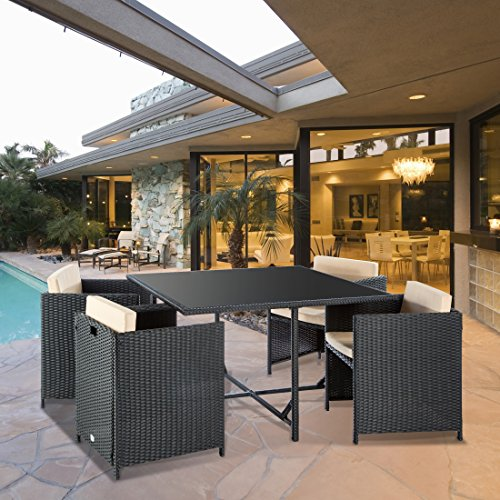 Ultranatura Set mobili da Giardino della Serie Palma, Set Lounge con Tavolo e sedie in polyrattan, Inclusi Cuscini, ca. 114 x 114 x 73 cm, Antracite