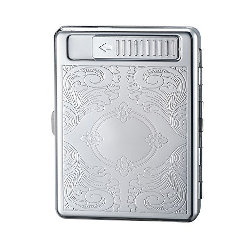 Cigarettes Case Box with Lighter Metal Full Pack 20 Regular Cigarettes USB Lighter Portable Rechargeable Flameless Windproof Electric Cigarette Lighter (3)