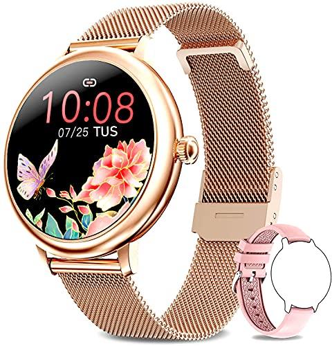 Bengux Smartwatch Donna, Orologio Fitness IP68 Impermeabile Smart Watch da Donna Notifiche Messaggi Contapassi Calorie Cardiofrequenzimetro da Polso Activity Tracker per Android iOS (Oro Rosa)
