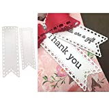 2Pcs Banner Tag Heart Flag Metal Cutting Die Cuts, Bookmarks Template Heart Flag Scrapbook Paper Cards Cutting Dies Cut Stencils for DIY Embossing Card Making Decorative Paper Dies Scrapbooking