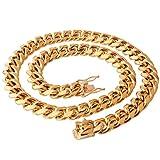 AueDsa Cadena Collar Hombre,Cadena de Curb Cadena Acero Inoxidable Colgante Oro Collar...