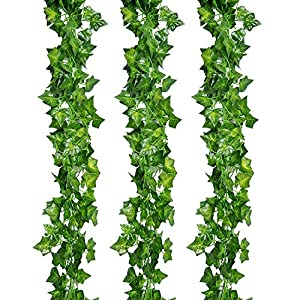 Silk Flower Arrangements Decoration Artificial Ivy Fake Vines Garland Artificial Plants Greenery Garland Faux Green Hanging Plant Flowers Wall Party Wedding Room Decor(12 Strands)