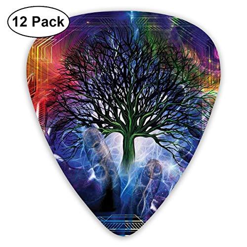 Guitar Picks12pcs Plectrum (0.46mm-0.96mm), Human Hand Grabs A Leafless Tree Vitality Symbol Modern Hippie Karma Artisan Theme,For Your Guitar or Ukulele