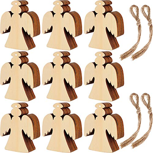 Blulu 60 Pieces Christmas Wooden Ornaments Round Wood Slices Wood Snowflake Angel Shape Slices with 60 Pieces Cords for New Year Christmas Tree Pendant Ornaments (Style 3)