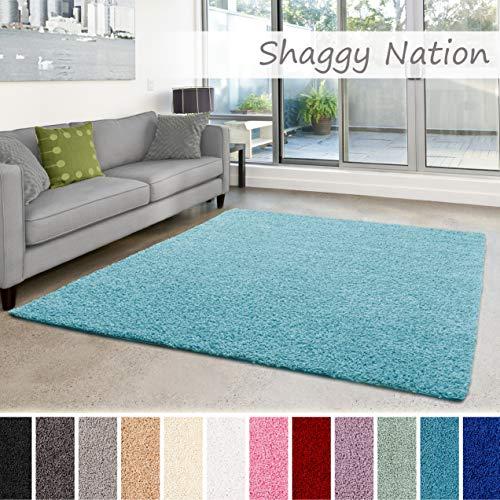 Shaggy-Teppich | Flauschiger Hochflor fürs Wohnzimmer, Schlafzimmer oder Kinderzimmer | einfarbig, schadstoffgeprüft, allergikergeeignet in Farbe: Türkis; Größe: 80 x 150 cm