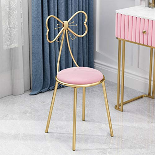 Modern Makeup Vanity Chair Stool,Cute Butterfly Stool Chair Ottoman Bench Metal Bench Legs Gold Dining Chair for Kitchen Bedroom Living Room (Pink)