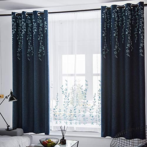 TINYSUN Vine Flower Embroidered Top Linen Textured Curtain for Bedroom 2 Panels,Elegant Countryside Designed Window Blackout Curtains for Living Room (Navy/Blue,W52xL84,Total is 104-inch Wide)