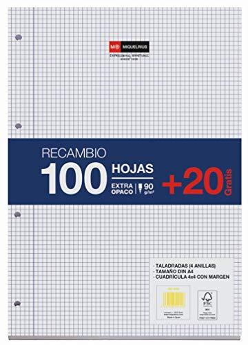 Miquelrius - Recambio de Hojas Sueltas, Tamaño A4, Cuadrícula de 4 x 4 mm, 120 Hojas, 90 g/m²