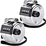 KTRIO Pack of 2 Metal Hand Tally Counter 4-Digit Tally Counters Mechanical Palm Counter Clicker Counter Handheld Pitch Click Counter Number Count for Row, People, Golf, Lap & Knitting, Silver