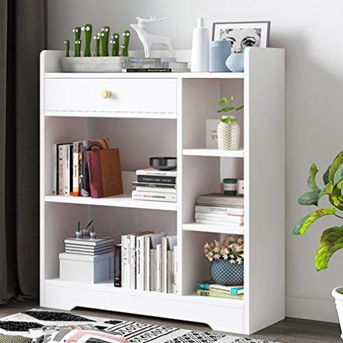 Goldweather Modern White Bookcase Bookshelf Rack for Small Space, Bookcase Storage Shelf Organizer, Wood Book Shelves Floor Cabinet Industrial Standing Racks Study Organizer (White)