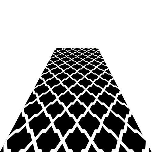 Alfombra Pasillo Moderna Lavable Alfombra de Pasillo - Hallway Kitchen Hotel Hall Alfombras Antideslizantes comerciales, Patrón Escalonado Blanco Negro - Longitud Personalizada