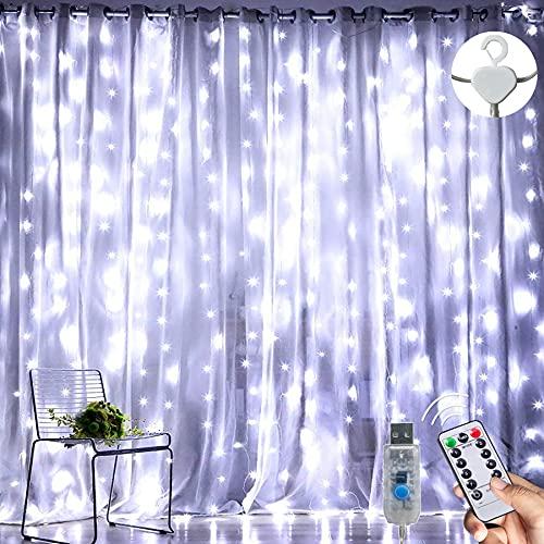 LED Lichterketten Lichtervorhang 300 LEDs USB Vorhanglichter 8 Modi Mit ferngesteuertem Timer, IP65 wasserdichte , Geeignet für Schlafzimmer, Fenster, Weihnachten, Party, Hochzeit, kühles Weiß