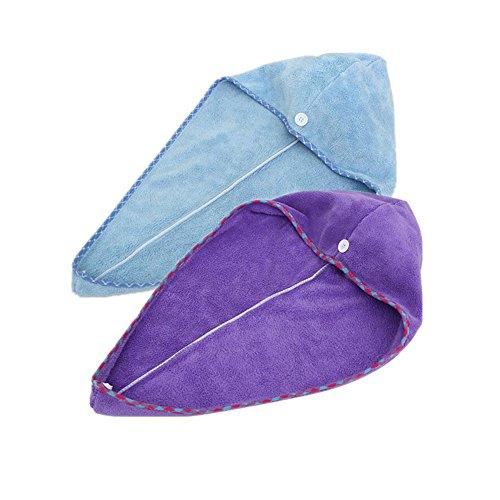 Happyit 2 STKS Hoge Kwaliteit Fijne Fiber Zachte Hoofd Handdoek Super Magic Absorbing Haar Drogen Hoed voor Vrouwen Meisjes Lady's Bad Douche, Purple + Sky blue