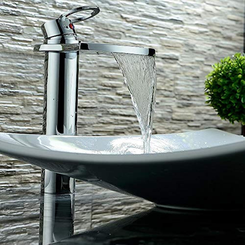 LH-Wasserhahn:Moderne Art déco Retro Mittellage Wasserfall Verbreitete Keramisches Ventil Einhand Ein Loch Chrom, Waschbecken Wasserhahn,1