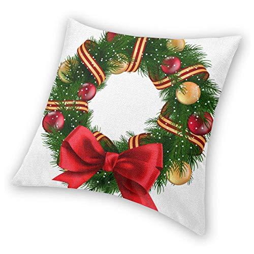 Butlerame Fundas de Almohada cuadradas Coronas navideñas Cintas Funda de Almohada Banco 45 X 45 cm Fundas de cojín Decorativas navideñas