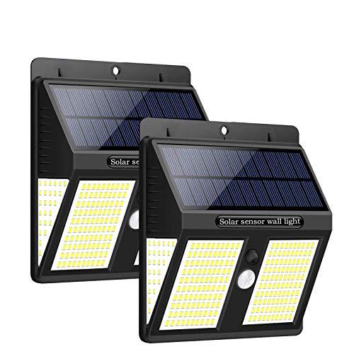 [2021高輝度昇級版]UnqieFire 250LED ソーラーライト センサーライト 4面発光 人感センサー自動点灯/消灯 IP65防水 省エネ 屋外/庭/玄関/カーポート/停電時活躍 防災ライト 電池交換不要 2個セット