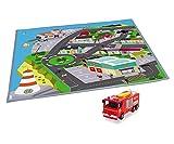 """Dickie Toys 203096003 - Feuerwehrmann Sam Spielmatte """"Stadt"""", Spielteppich, Spielset mit Feuerwehrauto Jupiter, Licht- und Soundfunktion, 1:64 -"""
