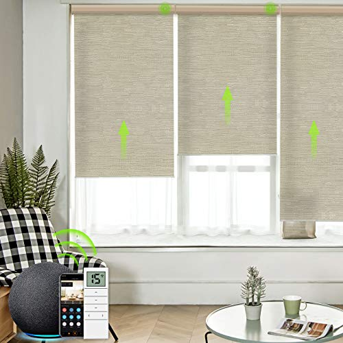 Yoolax Motorized Roller Shades Cordless Half-Shading Free-Stop Roller Blinds Rechargeable Window...