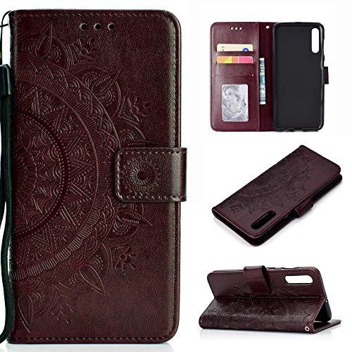 CoverKingz Handyhülle für Samsung Galaxy A70 - Handytasche mit Kartenfach A70 Cover - Handy Hülle klappbar Motiv Mandala Braun