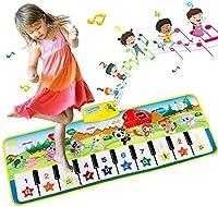 ピアノマット、100x36cm、多機能ミュージカルピアノキーボードダンスマット、キッズダンスマットアニマルタッチプレイマット、子供向け教育音楽玩具ベストギフト