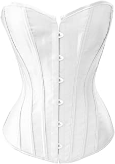 Black Satin Sexy Strong Boned Corset Lace Up Overbust Bustier Bodyshaper Top - Also White & Red