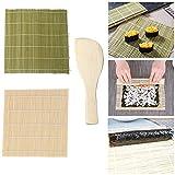 Jixista Kit de Sushi de bambú Herramientas Súper Fácil Hecho En Casa Artilugio de Sushi DIY 2 x Esterillas, 1 x Paleta de Arroz Kit para Hacer Sushi de Bambú Preparar Sushi Fácil Y Profesional