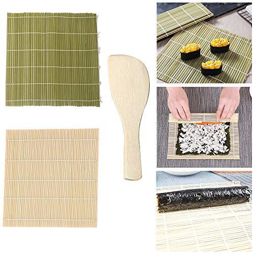 Jixista Kit per Il Sushi Mat Strumento Sushi Giapponese stuoia di Bambu' Rotolo Pad Mat Giapponese 2 x Mats,1 Paletta Riso Family Office Party Gadget di Sushi Fatto in Casa per Gli Amanti del Cibo