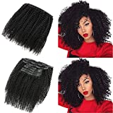 Afro Kinky Curly Clip in Hair Extensions Human Hair For Black Women 9A Brazilian 4B 4C Afro Kinky Curly Clip ins Real Hair Extensions Natural Color 7Pcs 120G/Set (16inch, Afro curly)