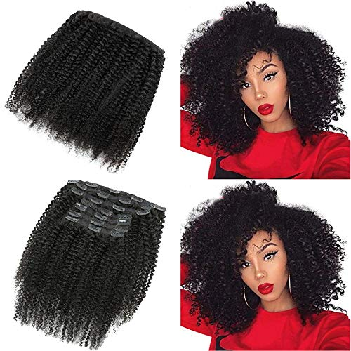 14 Inch Afro Kinky Curly Clip in Hair Extensions 25 Clips120 Gram 9A Brazilian Real Remy Hair 3C 4A Kinky Curly Clip Ins for Black Women Natural Color