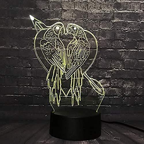 3D LED optische Dia Licht Nachtlicht Kuss Vogel Haus Dekoration Tisch Tisch Lava Farbwechsel Kinder Spielzeug USB-Basisschalter kreativ 7 Arten von Farbwechsel Kinder Weihnachtsgeschenke