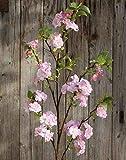 artplants.de Künstlicher Blütenzweig Kirsche MATSUDA mit Blüten, weiß-rosa, 130cm - Kirschblütenzweig Deko/Kunstblumen Zweig