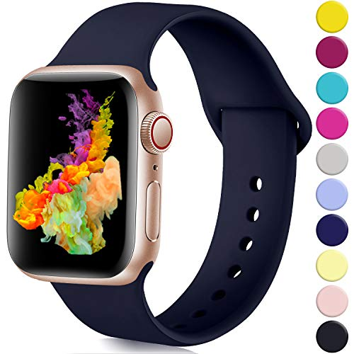 Rabini Compatible with Apple Watch Band 40mm 38mm, Replacement Accessory Sport Band for iWatch Apple Watch Series 5, Series 4, Series 3, Series 2, Series 1, Navy Blue, S/M