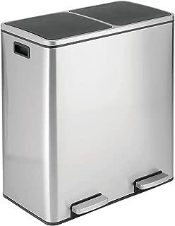 mDesign Modern 60 Liter, 2 Bin Square Large Metal Step Trash Can Wastebasket, Garbage Container Bin - Bathroom, Kitchen, Craft Room, Office, Garage - Removable Liner Bucket - Brushed Stainless Steel