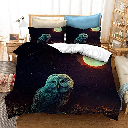 Juego de cama de búho, funda nórdica para niños y adultos jóvenes Ropa de cama de aves de animales salvajes 3D, patrón de halcón nocturno personalizado textiles para el hogar-F_200x230cm (3pcs)