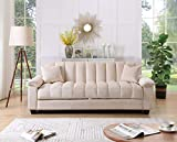 Legend Furniture Comfortable Velvet Sleeper Sofa Bed 2 Sofabed, Cream