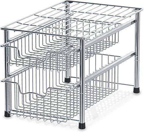 sliding baskets SimpleHouseware Stackable 2 Tier Sliding Basket Organizer Drawer, Chrome