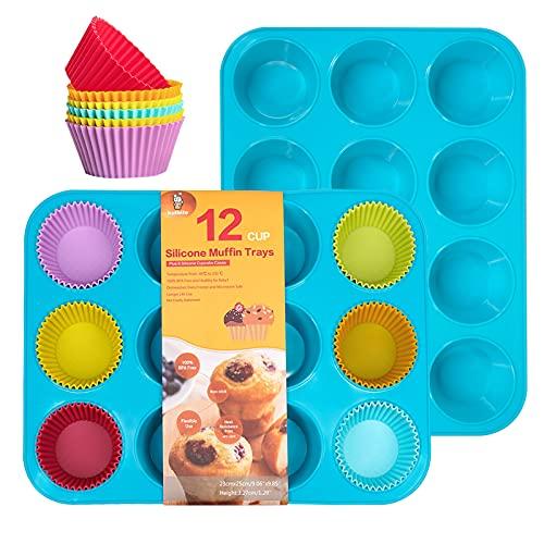 katbite Silikon Muffinform für 24 Muffins 2 Pack, Blau Antihaft Muffinblech, BPA Frei Backblech Cupcake Backform für Cupcakes, Brownies, Kuchen, Pudding