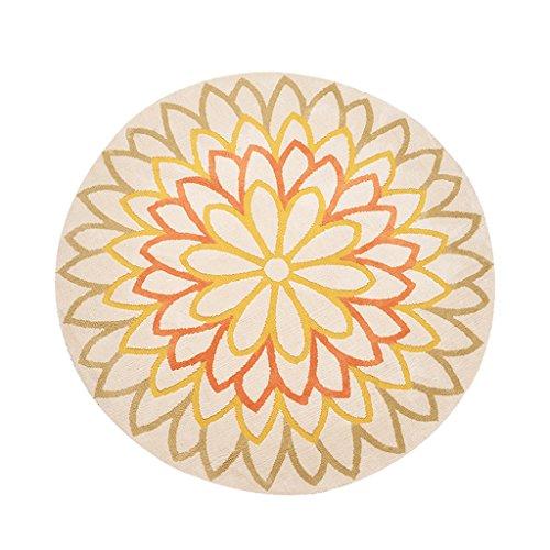 Tlmydd Eenvoudige Moderne Ronde Carpet Heldere Gele Patroon Sun Flower Woonkamer van het Huis Mat Tapijt (Size : 200cm)