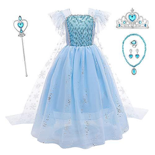O.AMBW Vestido de Princesa con Capa para Nias Disfraz de Reina Elsa Frozen Cosplay Princesa Disfraces y Accesorios de Princesa Fiesta Halloween Carnaval Navidad Reyes para Nias de 3 a 9 aos