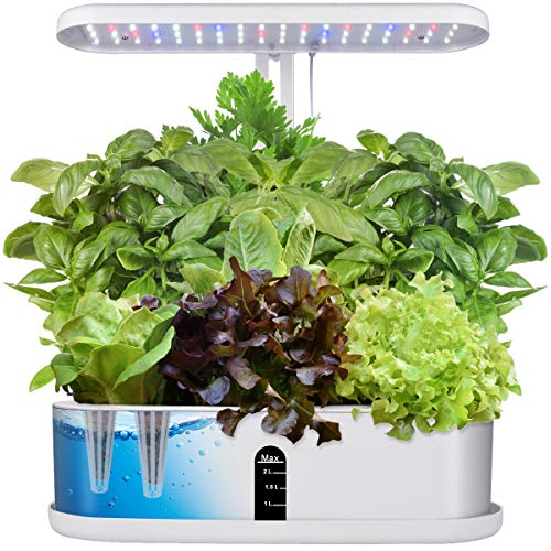 Moistenland Hydroponics Growing System, Indoor LED Lighting Herb Garden Germination Kits, Automatic Timer Plant Germination Kits for Home Kitchen(10 Pods)