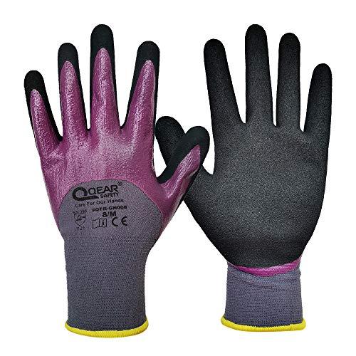 QEAR SAFETY guantes de trabajo de nitrilo con revestimiento de nudillos, resistencia al aceite/grasa, buena abrasión y agarre, Medium/8', morado, 1000